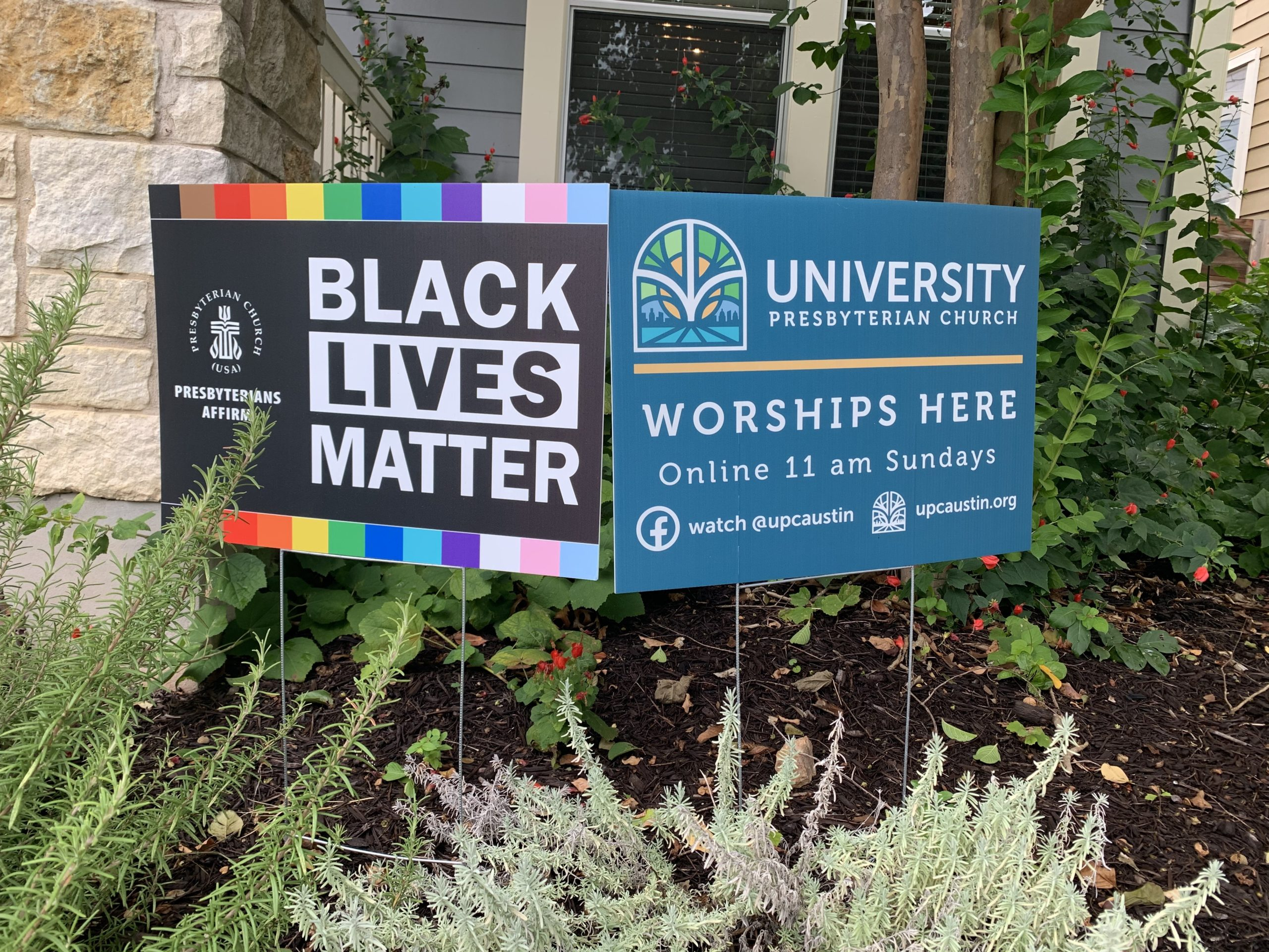 yard signs black lives matter and worship here