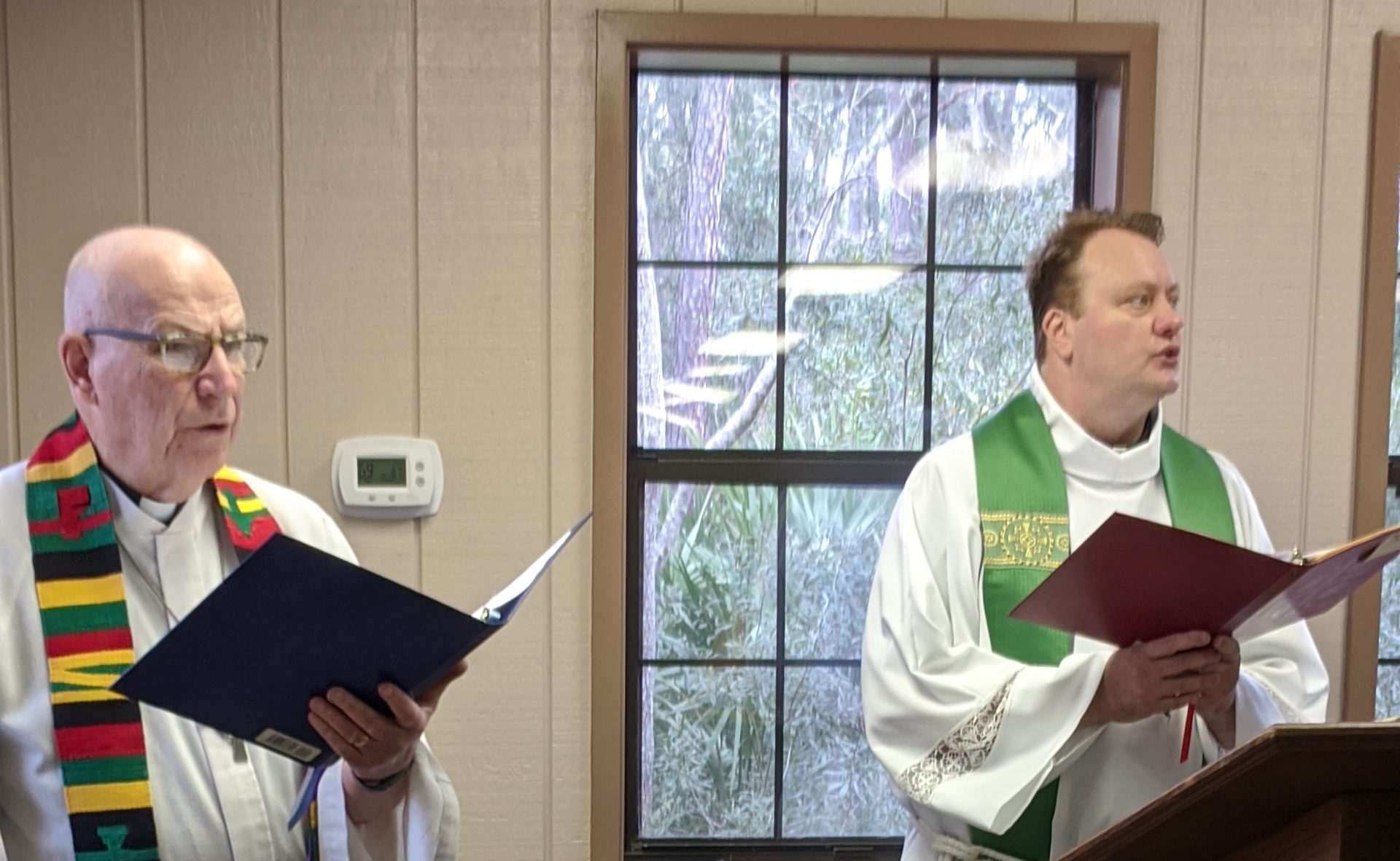 Pastors Peper and Talsness at 25 year celebrate at Skidaway Island State Park
